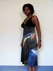 kleed met fotoprint zangeres Tutu Puoane